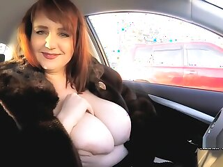 Sexy BBW Katrin Porto in hush up robe shows her hairy cunt outdoor