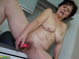 OldNanny granny mature masturbate about orange dildo