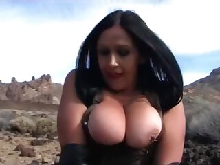 Leather Lady with Long Black Gloves - Tenerife Lead Blowjob Handjob - Cum on my Tits