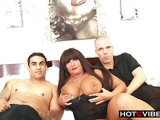 Smoking hot BBW mature milf sucks plus fucks 2 young hot guys for a threesome