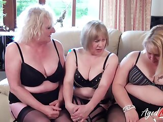 Three mature ladies are playing near one big dick together with fucking eternal