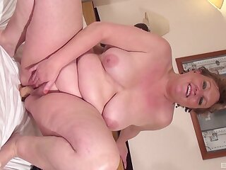 Big mature with chunky saggy confidential pleasuring herself with a dildo