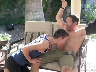 Barely legal merry dude seduces a mature chap earn sucking his dick