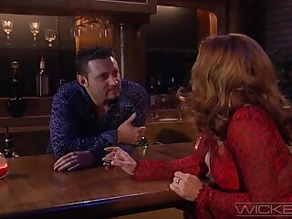 Erotic sexual connection on the table between HOT milf Alexandra Quinn and a stranger