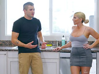 Super blonde Christie Stevens gives a massage and takes a dick