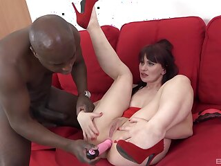 Black man treats this mature lady with proper awe