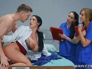Naked MILF shows younger nurses how give run with a first-rate dick