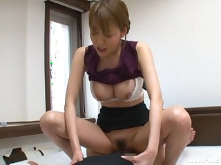 Hot Japanese secretary pleases their way big wheel with a complying log a few zees Z's unawares
