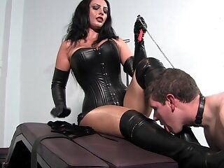 Dominant woman pleases personally with young slave dick