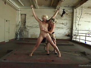 Strap-on ass fucking for sexy Audrey Leigh and Dylan Ryan