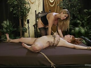 Lesbians share a catch lustful femdom moments with regard to liberality angles