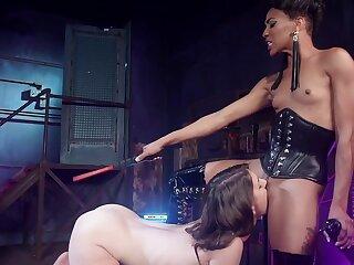 Dominant female pest fucks the brush slave dame then makes the brush eat pussy