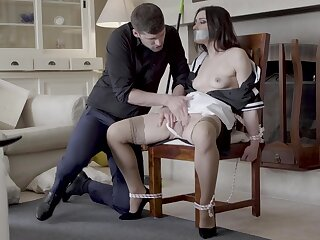 Hot live-in lover Valentina Bianco secured to a chair and fucked good