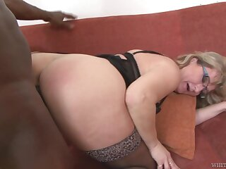 Mature PAWG Aja C takes cumshots on glasses after hardcore lovemaking with young black man