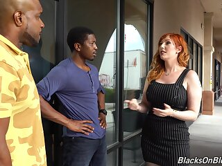 Lone wife with knockout curves takes on two black cocks in a hot threesome