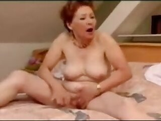 Very crazy granny masturbation and wild orgasm
