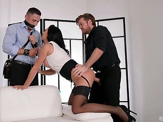Chesty Jasmine Jae boned hard in front of a bound cuckold before he joins