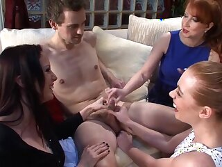 Three horny sluts team up to pleasure a small dick of a stranger