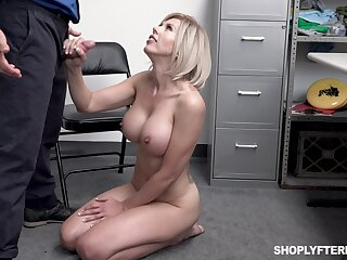 Big breasted blonde whore Amber Chase gives dirty cop a ride