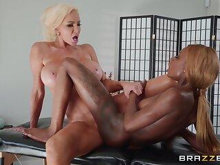 Kinsley Karter gives blonde bombshell Nicolette Shea more than massage