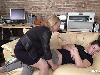 Cock starved mature German lady wakes up her stepson with oral sex