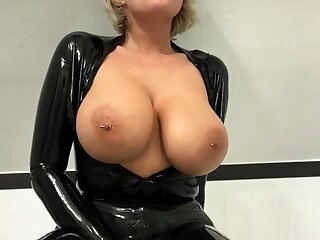 Busty amateur milf wears latex uniform and conceited heels