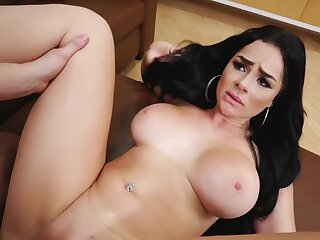 Busty brunette gets jizz all over her pretty element