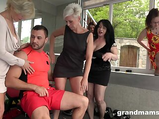 Old sluts team up to have sex with one rock hard younger dick